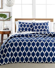 Ogee Onda Navy 3 Piece Comforter and Duvet Cover Sets - Sale & Closeouts - Bed & Bath - Macy's