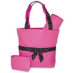 3 Piece Quilted Diaper Bag Solid Pink Black Polka Dot Fashionable Bags Changing
