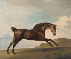 George Stubbs >> A bay hunter galloping in a mountainous landscape
