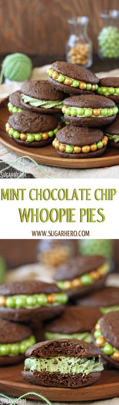 Mint Chocolate Chip Whoopie Pies - puffy brownie cookies filled with ...