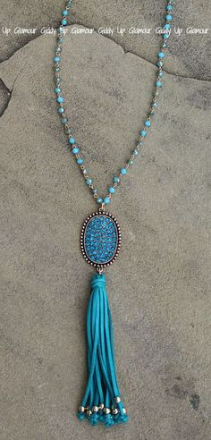 Long Bronze & Turquoise Crystal Necklace with Oval and Tassel