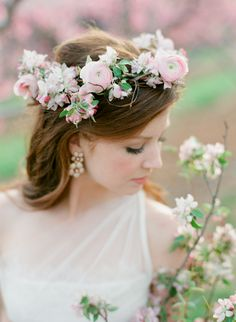 Blush Spring Flower Crown for the bride. Discover how Vênsette can craft custom beauty looks for your special moment: http://vensette.com/bridal_inquiries