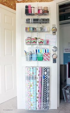 Hi Sugarplum Organized Craft & Gift Wrap Great idea to use the back of doors for organization