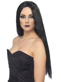 Ladies Halloween Witch Fancy Dress Long Straight Wig Black by Smiffys for sale online Witch Fancy Dress, Fancy Dress Wigs, Halloween Fancy Dress, Halloween Wigs, Adult Halloween, Halloween Season, Black Wig, Long Black, Dress Black
