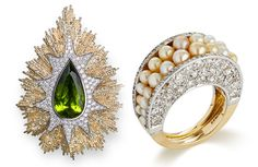Natural Pearls set in Diamonds and Yellow Gold. Designed by Jojo Grima. On the left side is peridot brooch