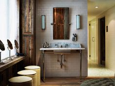 Pipes for vanity. Like the colors in the wood cabinets.