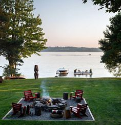 Thom Filicia: renovated NY lakeside cabin BBQ pit