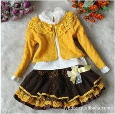 spring and autumn and the lovely girl skirt suits, children suit ete Girls Dresses Sewing, Kids Outfits Girls, Little Dresses, Little Girl Dresses, Nice Dresses, Girl Outfits, Skirts For Kids, Baby Clothes Patterns, Kids Suits