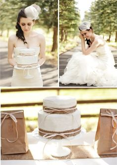 Hochzeitstorte mit Jute Deko Vintage elegante lange Brautkleider mit Feder Jute Hochzeitsdeko und Einladungskarten Inspiration