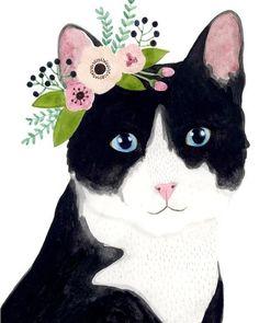 Watercolor Cat, Watercolor Animals, Animal Paintings, Animal Drawings, Frida Art, Deco Boheme, Photo Chat, Mary Engelbreit, Cat Drawing
