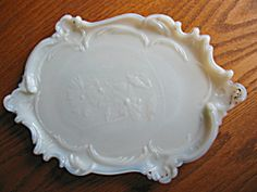 Antique milk glass vanity tray. For sale at More Than McCoy at http//www.morethanmccoy.com