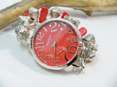 Large Red Watch with Red and Silver Stretch Band  by babbleon, $38.00