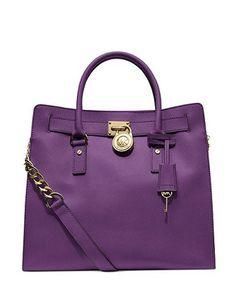 MICHAEL MICHAEL KORS MK Large Hamilton Saffiano Leather Tote Shoulder Bag Violet Purple