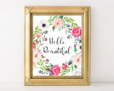 Hello beautiful printable wall art home decor sign by AdornMyWall
