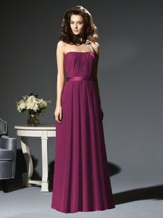 A-line Strapless Pleated Bodice Satin Belt Chiffon Bridesmaid Dress-wbm0070, $182.95