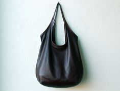 black leather handbag ships same week in any color  LARGE SLING  by roughandtumblebags, $198.00