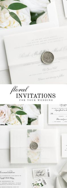 The 1940s wedding invitation suite is paired with Clara florals.  Clara features sand dollar roses, white garden roses, and Italian ruscus.