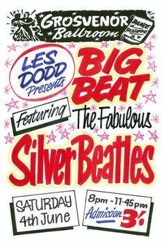 The Fabulous Silver Beatles Concert Poster 1960 Pop Posters, Band Posters, Concert Posters, Beatles Poster, The Beatles, Liverpool Town, John Lennon Paul Mccartney, Cottage Art, Recorder Music