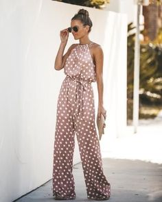 Pink Halter Pretty Little Polka Dot Jumpsuit – Jojo Like Formal summer dressy romper casual jumpsuit outfits polka dot romper elegant for women jumpsuit pattern for work Halter Jumpsuit, Jumpsuit Outfit, Casual Jumpsuit, Summer Jumpsuit, Jumpsuit Pattern, Chic Outfits, Summer Outfits, Fashion Outfits, Fall Wedding Outfits