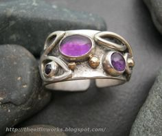 Large funky sterling silver ring, three purple amethyst cabochons, 10k gold balls, floral knotwork design, handmade