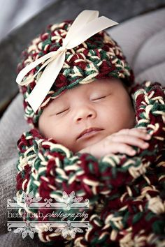 Victorian Christmas Baby Cocoon And Hat Set