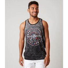 Affliction Live Fast Reversible Tank Top ($44) ❤ liked on Polyvore featuring men's fashion, men's clothing, men's shirts, men's tank tops, grey, mens graphic tank tops, mens graphic t shirts, mens gray dress shirt, affliction mens shirts and mens grey shirt