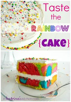 Wouldn't this be a fun treat for the kids? Rainbow Cake Recipe and Tutorial