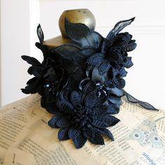 Dark Flowers Gothic CollarBlack Victorian Choker Statement
