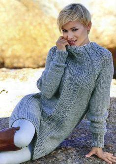 Longpullover Ausgabe29/Modell 03 - Wolle vom Wollkisterl und Stricken macht Spaß