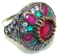 $54.25 Marvelous  Victorian Red Ruby Sterling Silver Ring s. 9 1/4 at www.SilverRushStyle.com #ring #handmade #jewelry #silver #ruby