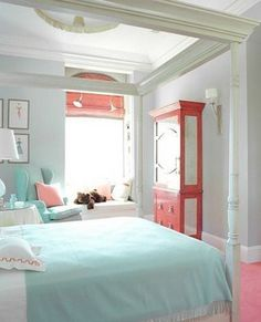 Turquoise & coral, the color palette for the girls bedroom. morganspiker