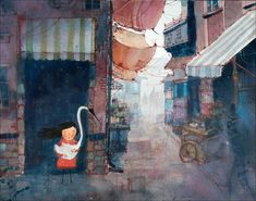 Girl hiding with swan in a bazaar. Illustration / wall art / decor. Limited edition print by Lee White.