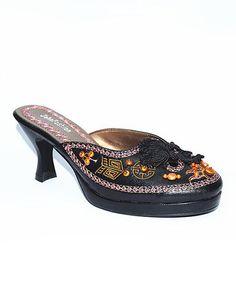 Look what I found on #zulily! Black & Orange Embroidered Kitten Heel #zulilyfinds