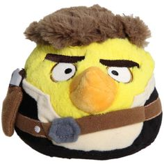 "Angry Birds Star Wars Soft Toy.  He's round, plush, yellow and looks like Hans Solo.  What a handsome fella. Approx 5"" in diameter he is soft enough to throw at your most loved Star Wars or Angry Birds (or both) fan. Other characters to collect.  You can choose your favourite or collect them all!"