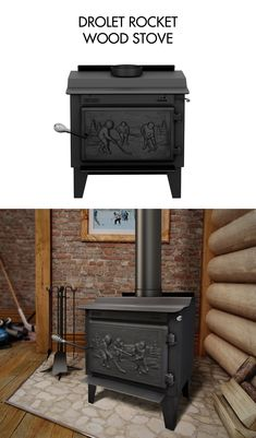 DROLET ROCKET WOOD STOVE  The Rocket is a high efficiency wood stove among the smallest on the market. This leg model is EPA certified. The Rocket is ideal for small areas that require a limited heating capacity without compromise on the appliance efficiency.