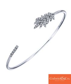 This gorgeous silver white sapphire cuff bangle from Gabriel & Co. is the perfect addition to any Spring outfit! Diamond Bracelets, Silver Bracelets, Bangles, Fashion Rings, Fashion Jewelry, Women's Fashion, Imitation Jewelry, Fantasy Jewelry, Engagement Jewelry