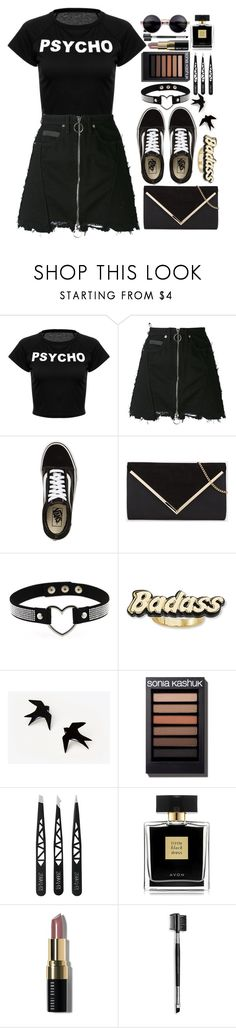"""""""•Psycho Badass•Badass Psycho•"""" by atarituesday ❤ liked on Polyvore featuring County Of Milan, Vans, Steve Madden, Avon, Bobbi Brown Cosmetics, Mary Kay and vintage"""