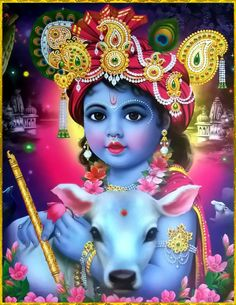 """✨ HAPPY KRISHNA JANMASHTAMI ✨ """"Krishna who is known as Govinda is the Supreme Godhead. He has an eternal blissful spiritual body. He is the origin of all. He has no other origin and He is the prime. Arte Krishna, Krishna Flute, Krishna Hindu, Krishna Leela, Radha Krishna Images, Lord Krishna Images, Krishna Pictures, Krishna Radha, Shiva"""