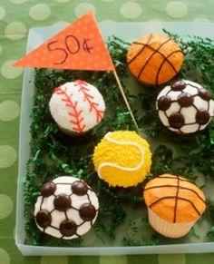Sports-themed cupcakes - baseball, basketball, soccer, tennis