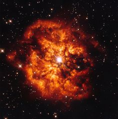 Hubble's fireball NASA/ESA Hubble Space Telescope e the central Wolf-Rayet star known as Hen2-427 — more commonly known as WR124 — surrounded by the nebula M1-67: ESA/Hubble & NASA. Acknowledgement: J. Schmidt.