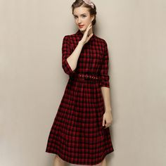 3090f3e87a2 2015 Autumn Fashion woman clothes red tartan plaid dress Elegant Slim  Mid-length office work