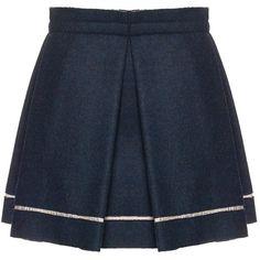 Michael Angel Navy Pleat Bennett Skirt ($385) ❤ liked on Polyvore featuring skirts, mini skirts, bottoms, saias, faldas, navy, blue pleated skirt, blue pleated mini skirt, mini skirt and pleated leather skirt