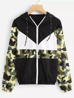 46eeb4c5 Camo Panel Zip Up JacketFor Women-romwe Gucci, Ветровка, Пальто С Капюшоном,