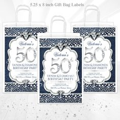 Diamond Background, Decorated Gift Bags, Baby Shower Gift Bags, Diamond Party, Denim And Diamonds, Royal Baby Showers, Wine Bottle Labels, Label Paper, Party Bags