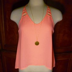 Lush Salmon Polyester tank.  New without tags Perfect summer salmon color tank!  Size small, new without tags. Lush Tops Tank Tops