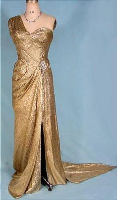 1950's Hollywood Gold Lame Gown