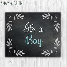 PRINTABLE/ It's A Boy/ Gender Reveal Announcement/ by snapsofgreen