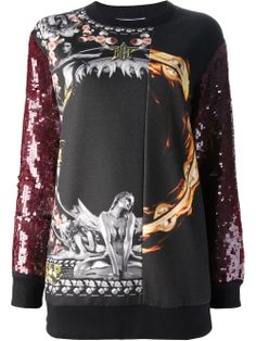 Givenchy Sequined Sleeve Sweater in Multicolor (black) | Lyst
