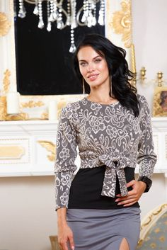 Light gray blouse with elegant floral pattern and a bow at the waist. by BeIn16.com