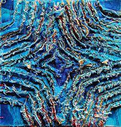 Výsledok vyhľadávania obrázkov pre dopyt slashing fabric Chenille Quilt, Rag Quilt, Quilt Blocks, Textile Design, Textile Art, Creative Textiles, Fabric Manipulation, Free Motion Quilting, Sewing Techniques